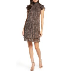 women's chelsea28 mock neck metallic shift dress