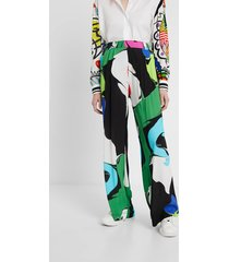 palazzo multicolour trousers - black - l
