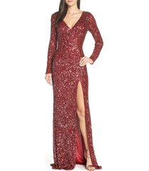 women's mac duggal sequin long sleeve slit column gown