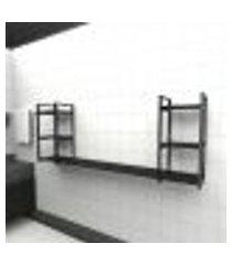 prateleira industrial banheiro aço cor preto 180x30x68cm (c)x(l)x(a) cor mdf preto modelo ind30pb