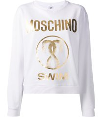 moschino swim logo sweatshirt - white