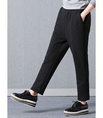 pantaloni con tasche elastiche in vita con solidi e caldi casuali