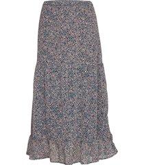 skirt claudia knälång kjol blå lindex
