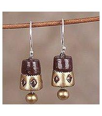 ceramic dangle earrings, 'golden drums' (india)