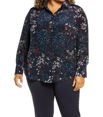 plus size women's lafayette 148 new york scottie floral silk blouse