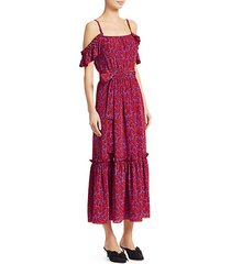 printed cold-shoulder stretch-silk midi dress