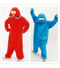 cookie monster adult pajamas kigurumi cosplay costume animal onesie sleepwear !