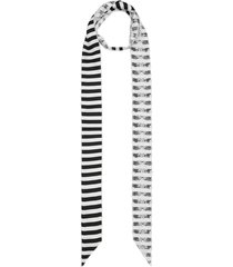 burberry lace-panel striped skinny scarf - metallic