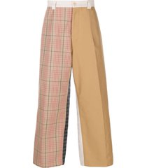 marni wide leg patchwork trousers - neutrals
