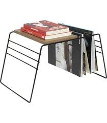 porta revistas de chão, revisteiro com mesa apoio