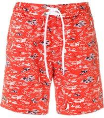 lacoste short de praia estampado - vermelho