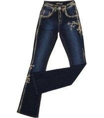 calça dock's flare pintada cintura alta feminina