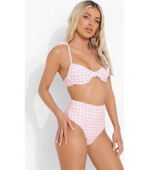 roze gingham bikini top met beugel, pink