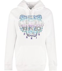 kenzo tiger embroidery cotton hoodie