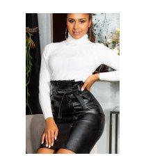 sexy hoge taille faux leder midi rok met riem zwart