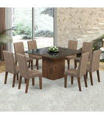 mesa de jantar 8 lugares dara venus dover/malta/preto - viero móveis