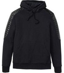 mc-sweatshirt med detaljer i skinnimitation, smal passform
