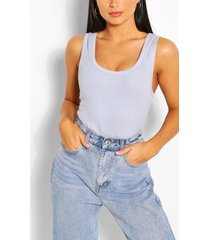 ribbed scoop neck tank top, dusty blue