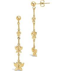 14k yellow goldplated triple butterfly dangle earrings