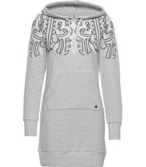 bohemian sweat dress hood kort klänning grå superdry