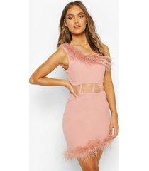 one shoulder panelled feather trim mini dress, soft pink