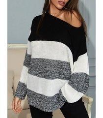 skew collar color blocking drop shoulder sweater