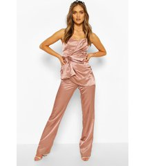 boohoo occasion satin bandeau bow jumpsuit, rose