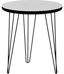 mesa lateral glass redonda 47,5 pé de ferro preto - líder design