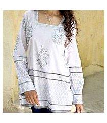 cotton tunic, 'silver glam' (india)