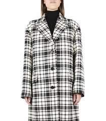 oversized coat in virgin wool with checked motif
