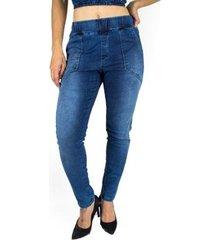 calça feminina sol jeans jogger elástico cintura com lycra