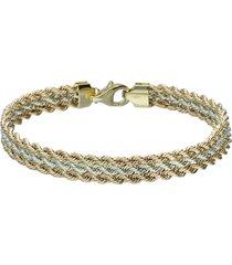 bracciale in oro bicolore a maglie rotonde per donna