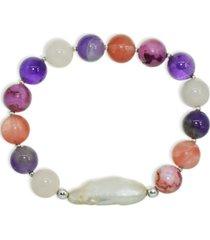 genuine stone bead biwa pearl stretch bracelet