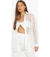 oversized geborduurde kanten blouse en bralette, ivory