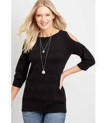 maurices womens cold shoulder puff sleeve pullover