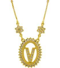 colar horus import letra v zircônias dourado