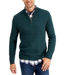 club room men's cable-knit quarter-zip cotton sweater, created for macy's