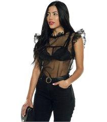 blusa negra transparente amawi. ofelia. blouse