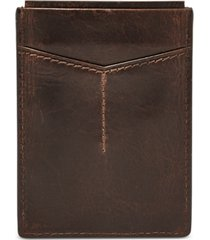 fossil men's leather derrick rfid card case