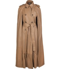 red valentino camel leather trench cape