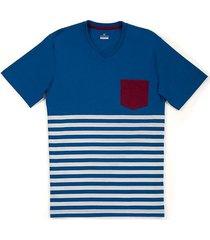 camiseta rayas y bolsillo manga corta regular fit para hombre 92938