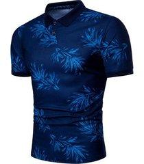 camiseta de solapa estampada casual de verano para hombres nuevos