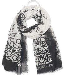 calvin klein scattered ck alphabet oversized square scarf
