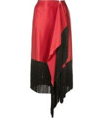 fringed asymmetric skirt