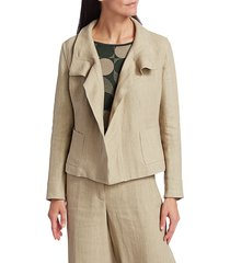 akris punto women's raw linen jacket - desert - size 12