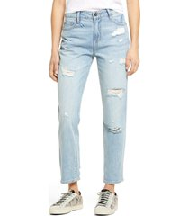 women's hidden jeans classic ripped high waist ankle straight leg jeans, size 24 - blue