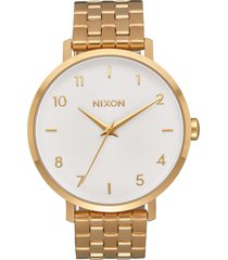 nixon the arrow bracelet watch, 38mm in gold/white/gold at nordstrom