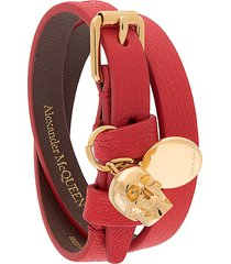 alexander mcqueen double-wrap skull detail bracelet - red
