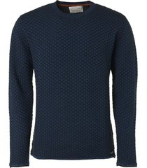 no excess pullover r-neck, plated jacquard shadow blue