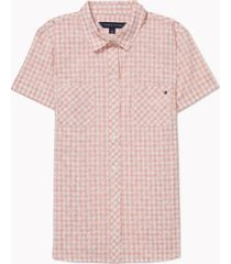 tommy hilfiger women's essential gingham camp shirt bridal rose/ white - xs